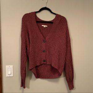 Maroon button crop sweater